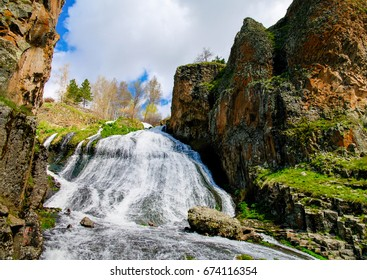 Panorama of Jermuk waterfall on Arpa river in Armenia