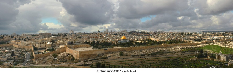 Panorama of Jerusalem Israel, Jerusalem: Panorama of the old city, fortress walls, Dome of the Rock Mosque, West Jerusalem.