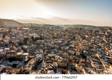 Panorama of Jerusalem from the north at sunrise, Israel