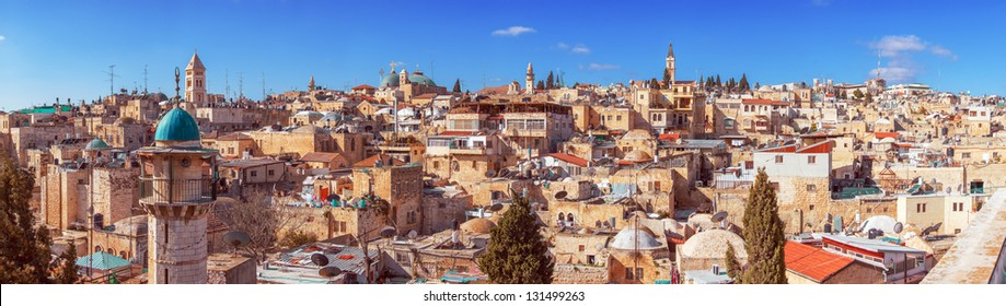 Panorama of Jerusalem Old City with Church of the Holy Sepulchre, Israel