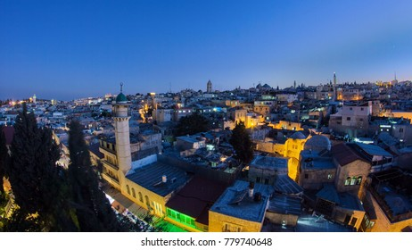 Panorama of Jerusalem Old City day to night transition timelapse from Austrian Hospice Roof, Israel. Illuminated buildings