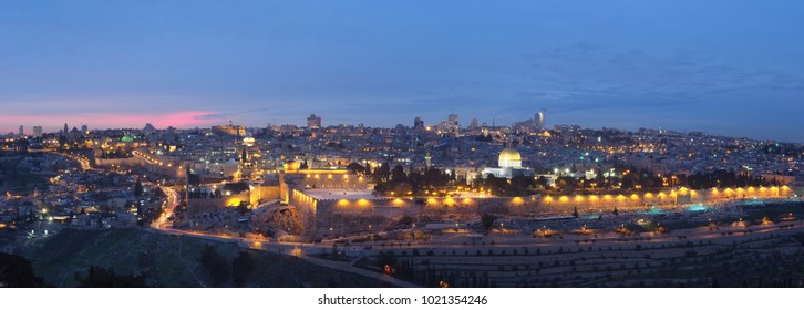 Panorama with Jerusalem old city in Israel - view from the Mount of Olives