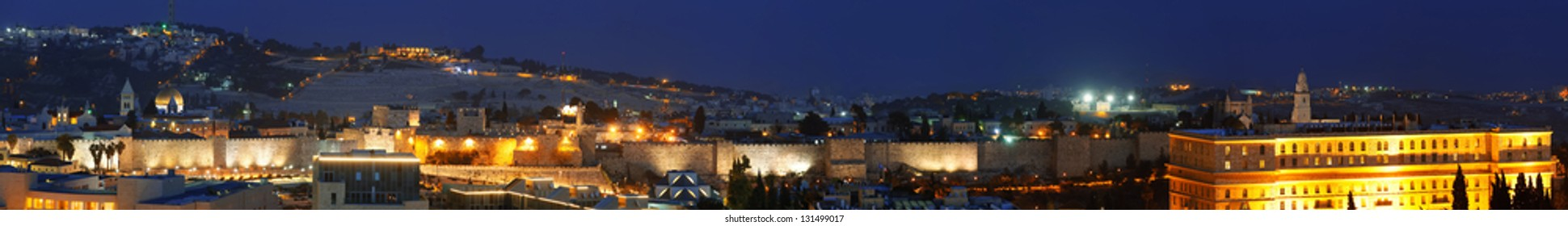 Panorama of Jerusalem Old City and Mount of Olives at Night, Israel