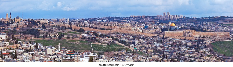 Panorama of Jerusalem Old City and Temple Mount, Israel