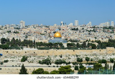 panorama of Jerusalem with of the Temple Mount and Dome of the Rock and Al Aqsa Mosque