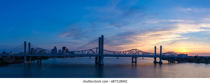 Panorama of the John F. Kennedy Memorial Bridge and the Abraham and Louisville Skyline