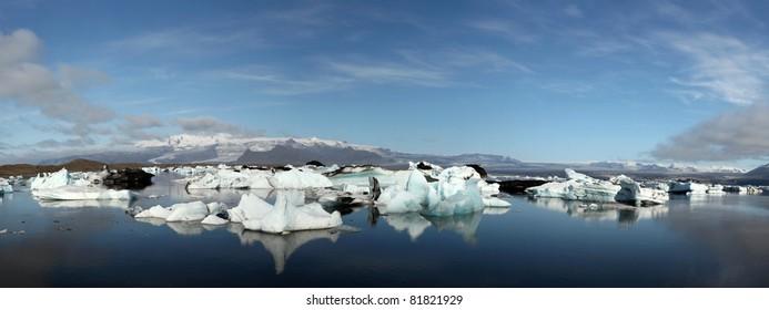 Panorama of Jokulsarlon lake iceberg lagoon Southeast of Iceland