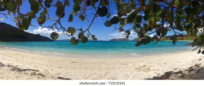 panorama of Jumbie Bay Beach, St. John, USVI, US Virgin Islands, Caribbean