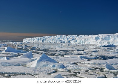 Panorama and just air .On ice floes, terrain and scenery Antarctic .Sunrise, day, sunset.
