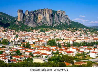 Panorama of Kalambaka city with rocy mountains of Meteora, the landmark of six monasteries in Greece.