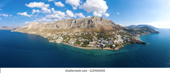 Panorama of Kalymnos island, Greece, from bird's eye view