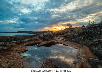Panorama of Karelia. Russia. The Republic of Karelia. A panorama of the nature of Russia. Ladoga lake. Rocky shore. Wild nature of Karelia.