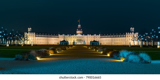 A panorama of Karlsruhe palace made in winter, unfortunately without snow. Karlsruhe, Germany, January 07 2018