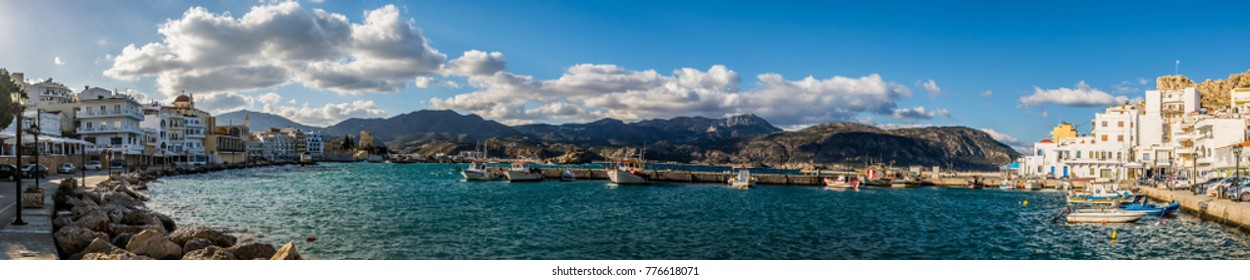 Panorama of Karpathos port, Pigadia