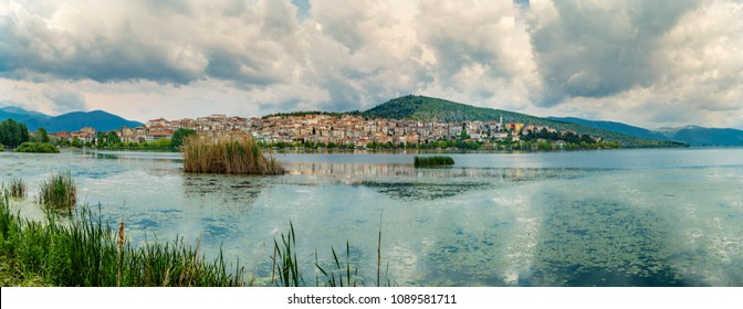 Panorama of Kastoria city and Lake in Greece