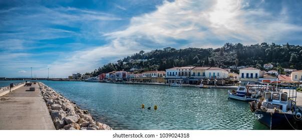 Panorama of Katakolo port, where cruise ships land for ancient Olympia, Greece