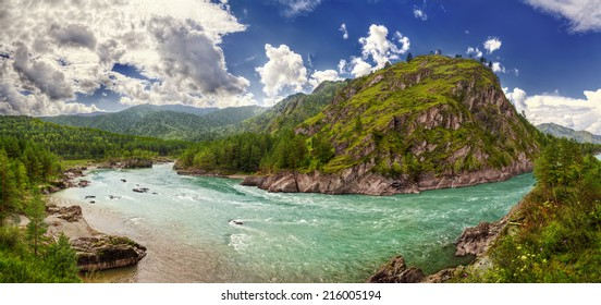Panorama of Katun river near Chemal hydro electric station (Russia, Altay Republic)