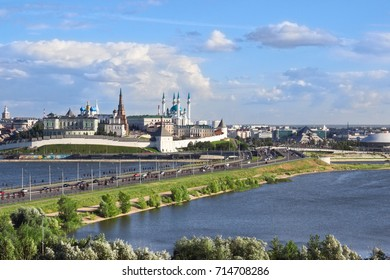 Panorama of the Kazan Kremlin, view from the street of the Decembrists. Kazan, the Republic of Tatarstan, Russia