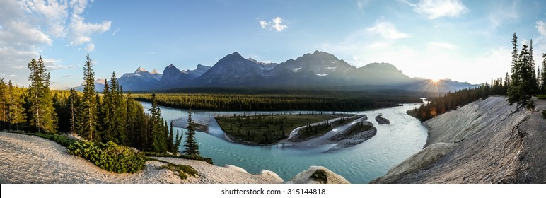 A panorama at Kerkeslin Goat Lick overlooking the Athabasca River in Jasper National Park, Canada.