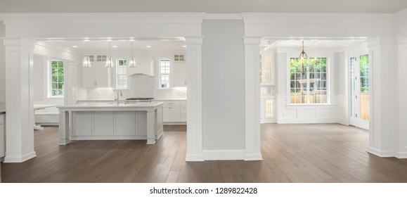 Panorama of Kitchen And Dining Room Interior in New Luxury Home