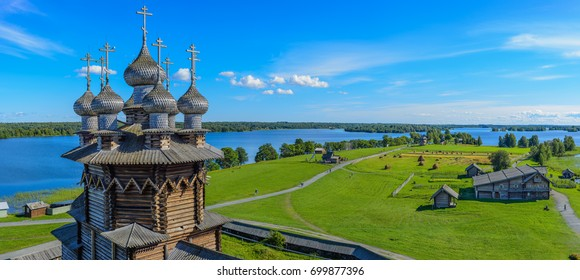 Panorama of Kizhi island from the bell tower in Pogost. In the foreground Church of the Intercession of the Virgin Mary. Kizhi island, Onega lake, Karelia, Russia.