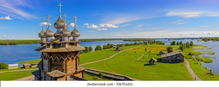Panorama of Kizhi island from the bell tower. In the foreground Orthodox Church of the Intercession of the Virgin in Kizhi Pogost. Kizhi island, Onega lake, Karelia, Russia.
