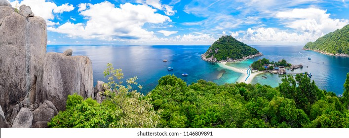 Panorama of Koh Nangyuan island, Suratthani, Southern of Thailand