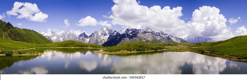 Panorama of Koruldi Lake in Svanetia, Georgia. Beautiful Lake in the mountains.