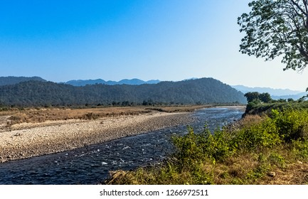 Panorama of Kosi River in Jim Corbett National Park, India