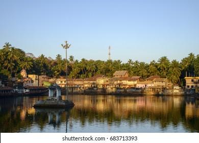 Panorama of Kotitheertha Temple Pond Tank in Centre of Gokarna, Karnataka, India