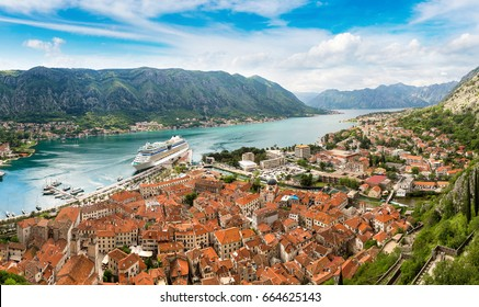 Panorama of Kotor in a beautiful summer day, Montenegro