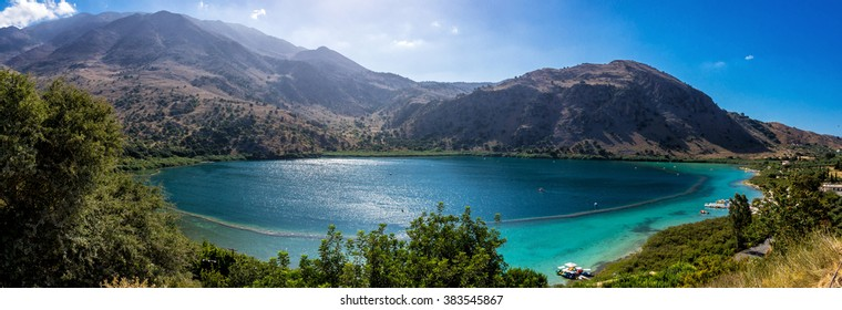 Panorama of the Kournas lake on Crete island, Greece