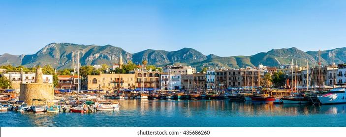 Panorama of Kyrenia harbour. Kyrenia (Girne), Cyprus.