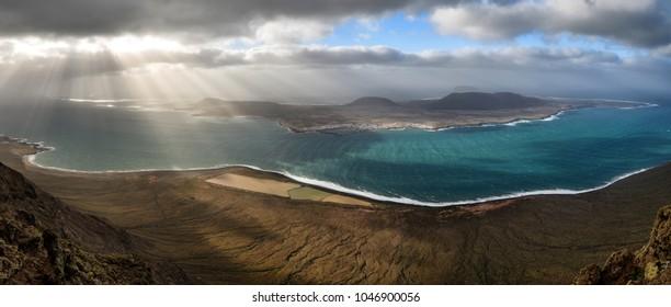 """Panorama of """"La Graciosa"""" island from """"Mirador del rio"""" in Lanzarote, Canary islands, Spain."""