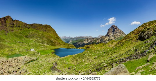 Panorama lacs d'Auyous and Pic d'Ossau with Refuge d'Ayousin the French Pyrenees  National Park