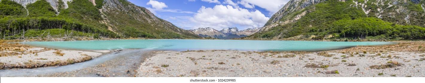 Panorama of Laguna Esmeralda with  mountains and vegetation, Ushuaia, Patagonia, Argentina