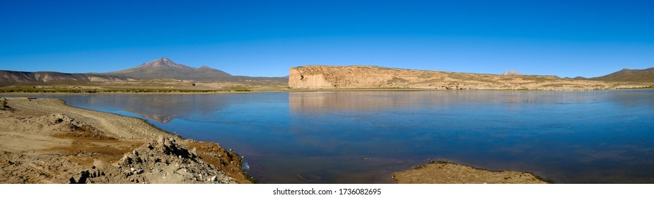 Panorama of Laguna Hedionda with cliffs and moutains in the Andes near the Salar de Uyuni, on the border between Bolivia and Chile