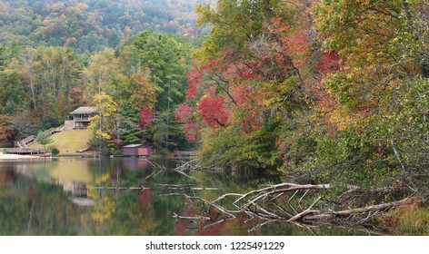 Panorama of the Lake and Beach at Unicoi State Park, Georgia Showing the Fall Colors