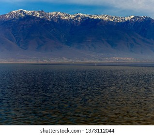 Panorama of the lake with blue sky and clouds