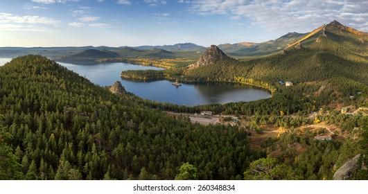 Panorama of Lake Burabay (Borovoe) in Natonal park Burabay (Borovoe), Kazakhstan