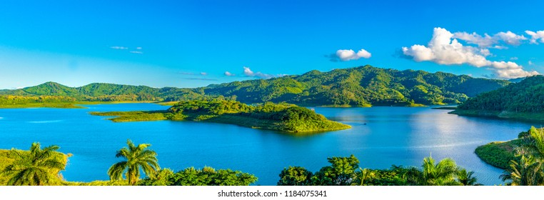 Panorama of a lake in the central part of Cuba. The area is famous for the practice of ecotourism. Beauty in nature with vibrant colors.