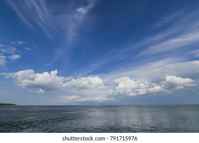 panorama of a lake with clouds