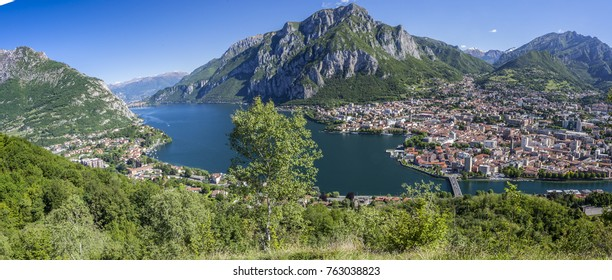 Panorama of Lake Como with the city of Lecco