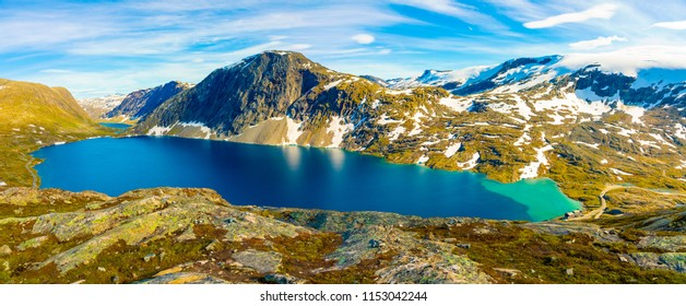 Panorama of the lake Djupvatnet on the road to mount Dalsnibba in Norway