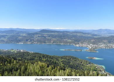 Panorama with Lake Wörthersee,the lake favorite destination for those who live in Austria during the summe