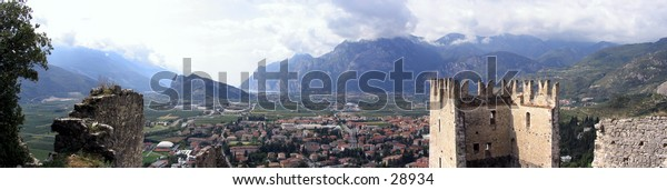 Panorama of Lake Garda from Arco Castle in Italy
