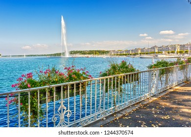 Panorama of Lake Geneva with the fountain Jet D'eau. Geneva. Switzerland.