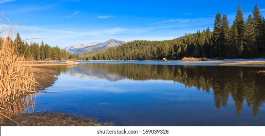 Panorama of lake Hume in Sequoia and Kings Canyon National Park, California.