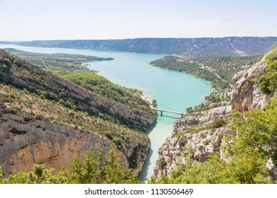 Panorama of Lake Lac de Sainte-Croix seen from the Gorges du Verdon - the gorge of Verdon in Provence, France