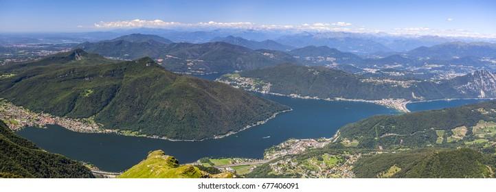 Panorama of Lake Lugano from Monte Generoso